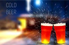Winter Haus Eisiges Glas Bier, Vektorillustration Lizenzfreie Stockbilder