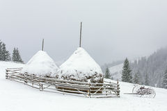 Winter haystacks in Carphatian mountains Stock Photos