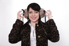 Winter headphones Stock Image