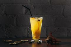 Winter healing ginger drink with honey and oranges. Cinnamon, star anise, fir twigs, tangerines, dried grapefruit. royalty free stock photos