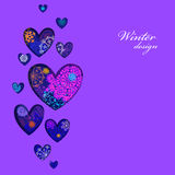 Winter heart design with pink and blue snowflakes. Love card. Stock Photos