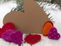 Winter heart shaped note with decoration Royalty Free Stock Photography