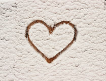 Winter and heart. Heart, wood board with snow Royalty Free Stock Photo