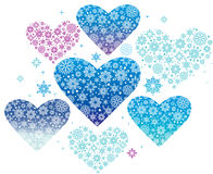 Winter hearts. Blue winter hearts Christmas decoration Royalty Free Stock Photo