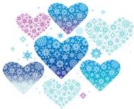 Winter hearts. Blue winter hearts Christmas decoration Royalty Free Stock Photo