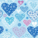 Winter hearts. Seamless background- Christmas decoration Royalty Free Stock Image