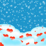 Winter hearts and snowflakes vector. Illustration Stock Photo