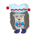 Winter hedgehog with a present. Modest female hedgehog with closed eyes wearing hat, mittens and warm shoes holding a present Royalty Free Stock Image