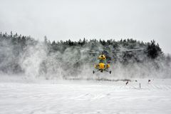 Winter  helicopter landing Stock Photography