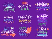 Winter Hello logo vector badge text letters motivation welcome wintertime phrases and quotes lettering Royalty Free Stock Photos