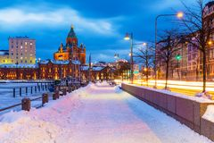Winter in Helsinki. Winter scenery of the Old Town in Helsinki, Finland royalty free stock photography