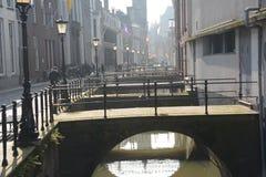 Winter-hemel over DE Zaanse Schans in Holland Royalty-vrije Stock Foto's