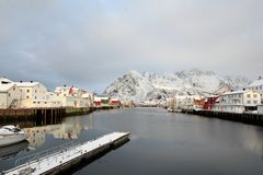 Winter in Henningsvaer Stock Image