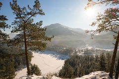 Winter High mountain landscape. Mountains panoramic landscape.  stock images