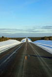 Winter Highway. A straight section of a winter highway in Wisconsin Royalty Free Stock Photo