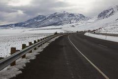 Winter highway in Sierra Nevada, California Stock Photos