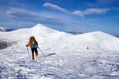 Winter hike on snowshoes. Stock Photos