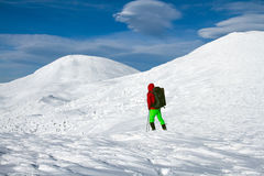 Winter hike on snowshoes. Royalty Free Stock Image