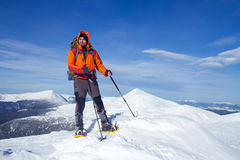 Winter hike on snowshoes. Stock Image