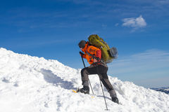 Winter hike on snowshoes. Royalty Free Stock Images