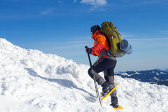 Winter hike on snowshoes. Stock Photo