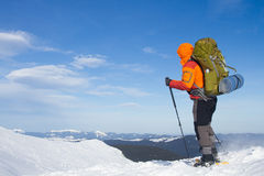 Winter hike on snowshoes. Royalty Free Stock Photo