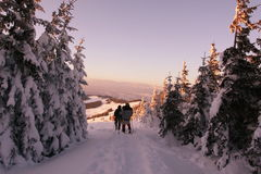 Winter hike on sunset Royalty Free Stock Photos