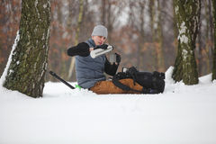 Free Winter Hiker Having Break For Cup Of Tea Stock Photo - 34933470