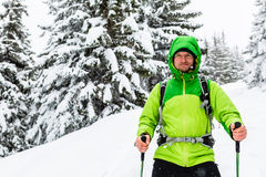 Winter hiker in white snowy woods walking with hiking sticks and Royalty Free Stock Photography