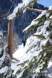 Winter hiking. Men hiking in mountain winter Stock Photo
