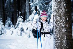 Winter hiking Stock Photography