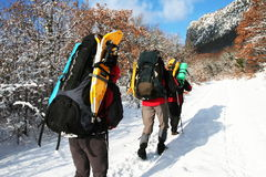 Winter hiking Stock Image