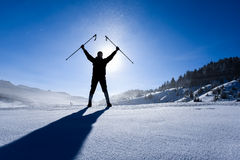 Winter hiking and happiness in nature. Winter adventureiwinter hiking and happiness in nature Royalty Free Stock Images