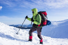 Winter hiking in the mountains . Royalty Free Stock Photo