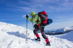 Winter hiking in the mountains . Royalty Free Stock Photos