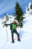 Winter hiking in the mountains Stock Photo