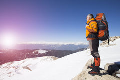 Winter hiking in the mountains Royalty Free Stock Image