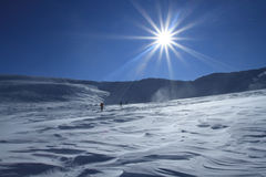 Winter hiking in the mountains on snowshoes Stock Photography