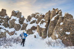 Winter hiking at Natural Fort Stock Image