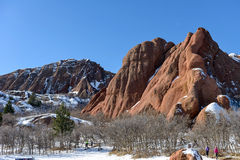 Winter Hiking in Red Sandstone Valley Royalty Free Stock Photos