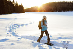 Winter hiking sport activity woman snowshoeing. Winter sport activity. Woman hiker hiking with backpack and snowwhoes snowshoeing on snow trail forest in Quebec stock images