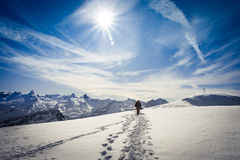 Winter hiking in the Swiss Alps Stock Photos