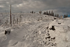 Winter hiking trail on Barania Gora hill Stock Images