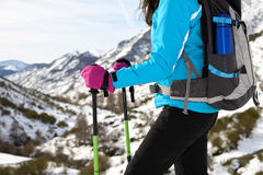 Winter hiking trip on mountain Royalty Free Stock Photography