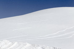 Winter hill. Ski hill with traces of Stock Image