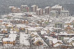 Winter hillside neighborhood Royalty Free Stock Photo