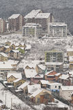 Winter hillside neighborhood Royalty Free Stock Photos