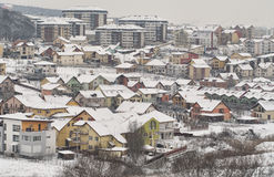 Winter hillside neighborhood Stock Images