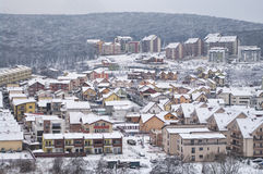 Winter hillside neighborhood Royalty Free Stock Photography