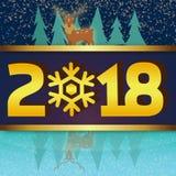 Winter-Hintergrund Reindear-Seeufer-Vektor-Bild 2018 Lizenzfreie Stockbilder